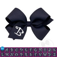 NAVY-WHITE INITIAL-HAIRBOW