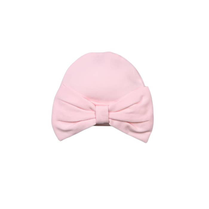 HUG ME FIRST PINK BOW BABY HAT