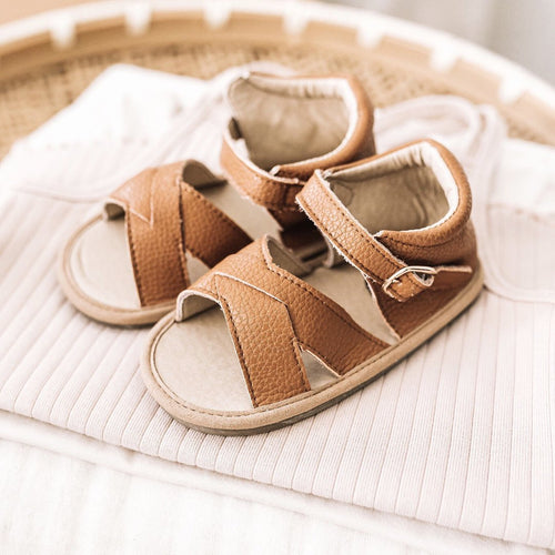 BROWN LEATHER SANDALS - BABY - LITTLE LOVE BUG