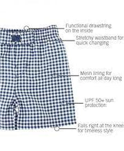 Load image into Gallery viewer, NAVY GINGHAM SWIM TRUNKS
