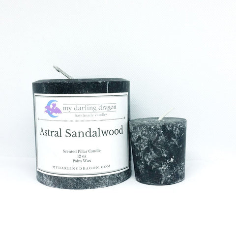 Astral Sandalwood Scented Pillar Candle