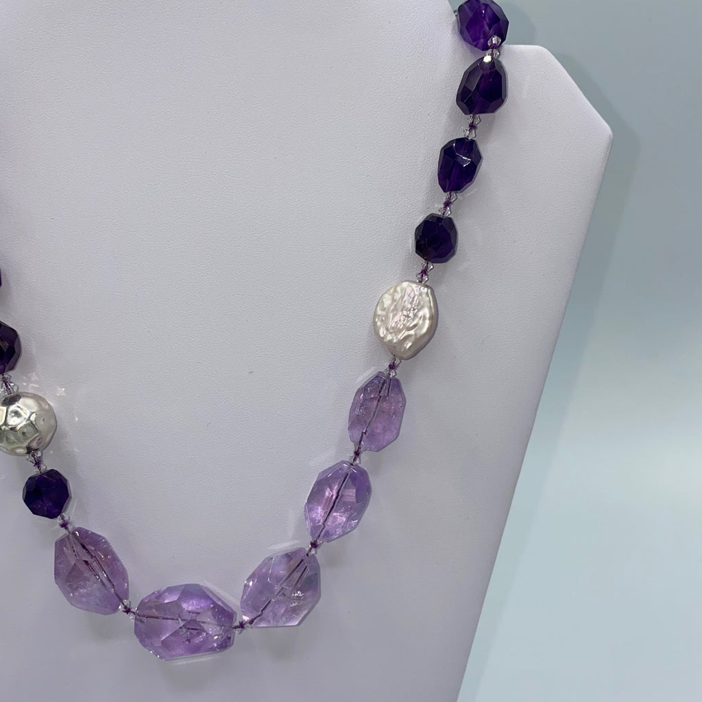 Wild Amethyst Freeform Nugget and Citrine Necklace Signature Design statement purple and yellow necklace