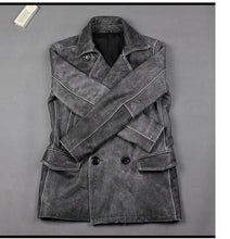Load image into Gallery viewer, Genuine Leather Jacket For Men Distressed Grey Long Coat Vintage Look Superb Quality