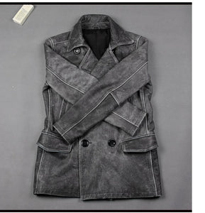 Genuine Leather Jacket For Men Distressed Grey Long Coat Vintage Look Superb Quality