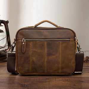 Genuine Leather Crossbody Shoulder Messenger Bag Tote Men Tablet Pouch Three Styles Distressed Dark Brown