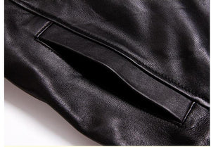 Genuine Leather Motorcycle Jackets For Men Black Brown Sheepskin Coats Custom Sizing