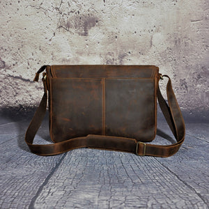 Crazy Horse Distressed Genuine Leather Cross Body Messenger Bag Men Casual Travel Luggage