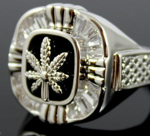 Cannabis Leaf Ring White Gold Filled Mens Large Silver Rings Jewelry Marijuana Plant Design Unique Gift for him
