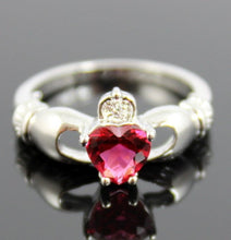 Load image into Gallery viewer, Claddagh Ring White Gold Filled Ruby Heart Irish Celtic Rings Wedding Engagement Promise Girls Silver Jewelry Unique Gift for Her