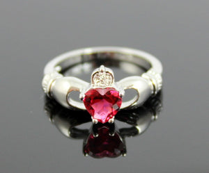 Claddagh Ring White Gold Filled Ruby Heart Irish Celtic Rings Wedding Engagement Promise Girls Silver Jewelry Unique Gift for Her