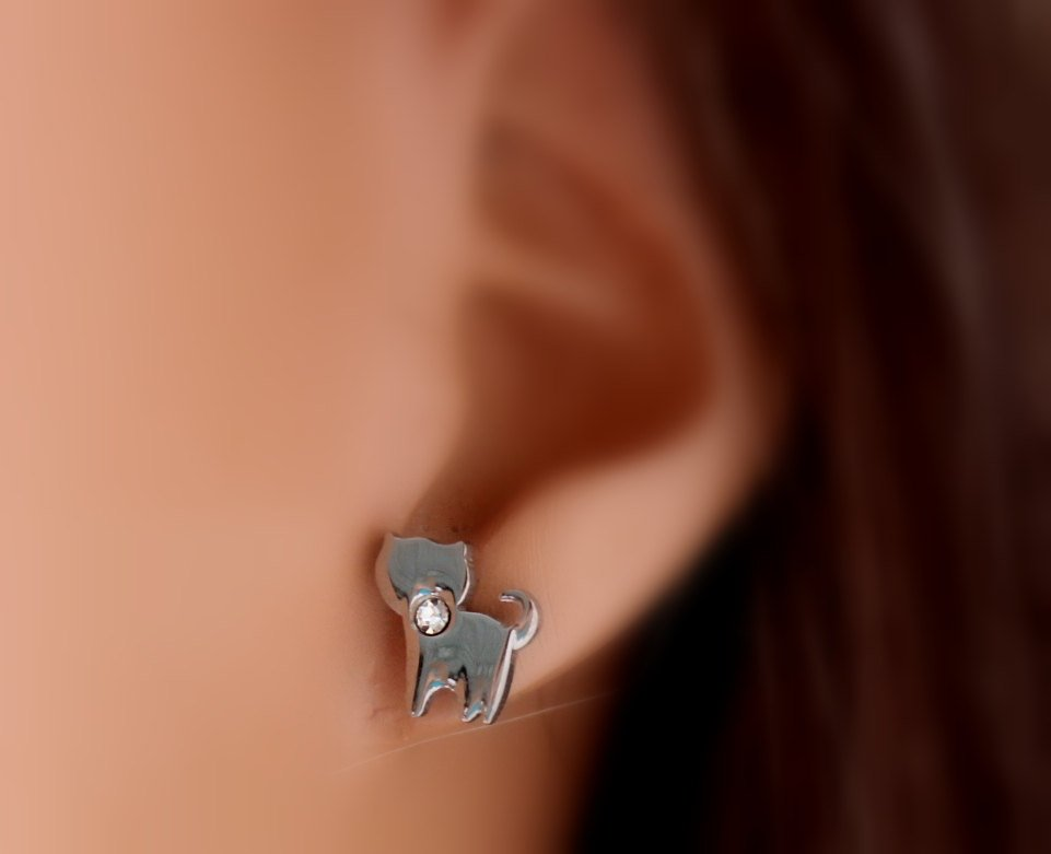 Cat Earrings Stainless Steel Kitty Earring Wommen Girls Crystal Cats Jewelry Women Girls Sparkling Studs Gift