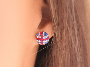 Union Jack Earrings Sterling Silver Red White Blue Studs British Flag London Underground Jewelry Women Girls Sparkling Rhinestone  Gift