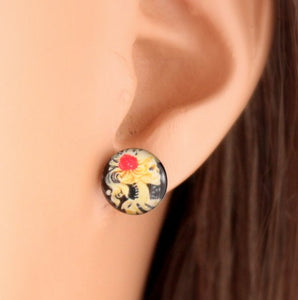 Skeleton Earrings Stainless Steel Skull Earring Women Girls Men Black Rose Studs Jewelry Women Girls Hearts Studs Simple Gift