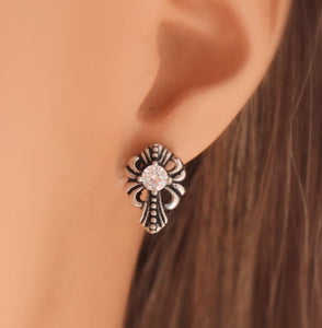 Cross Earrings Stainless Steel Gothic Stud Earring Women Mens Crystal Crosses Jewelry Edgy Stud Gift