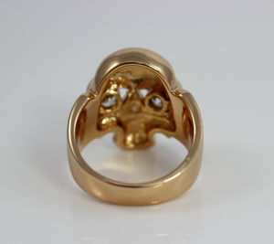 Skull Ring Gold Filled Mens Crystal Eye Large Thick Goldfilled Rings for Men Jewelry Gift Biker Rocker Skulls Saint