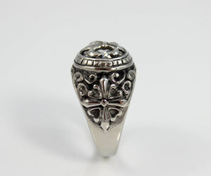 Fleur Di Lis Stainless Steel Ring Mens Jewelry Saint Design Band Zirconia Crystal Unique Cross Rings Gift for Him