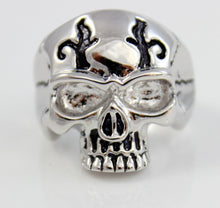 Load image into Gallery viewer, Skull Ring White Gold Filled Mens Skeleton Design Large Thick Silver Rings for Men Jewelry Gift Biker Rocker Skulls Saint