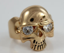 Load image into Gallery viewer, Skull Ring Gold Filled Mens Crystal Eye Large Thick Goldfilled Rings for Men Jewelry Gift Biker Rocker Skulls Saint