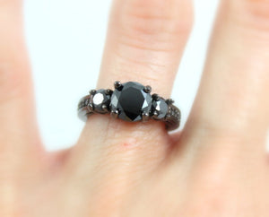 Black Ring Gold Filled Women Wedding Engagement Promise Rings 3 Stone Unique Gothic Steampunk Jewelry
