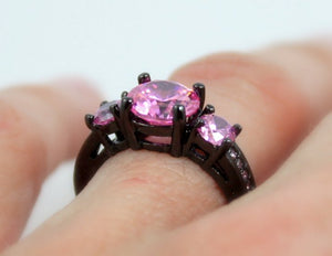 Black Gold Ring Women Pink Sapphire High Quality CZ Wedding Engagement Rings