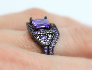 Sale Black Gold Ring Women Wedding Engagement Anniversary Promise Rings Purple