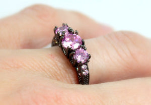 SALE Black Ring Women Pink Sapphire CZ Wedding Engagement Promise Rings