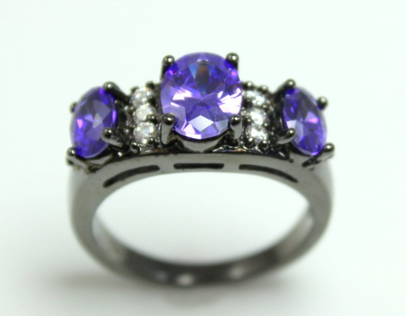 SALE Black Ring Multi Stone Hydro Purple Amethyst Wedding Engagement Promise Rings Unique Rodium Jewelry Large Big Women Girls Gift for her