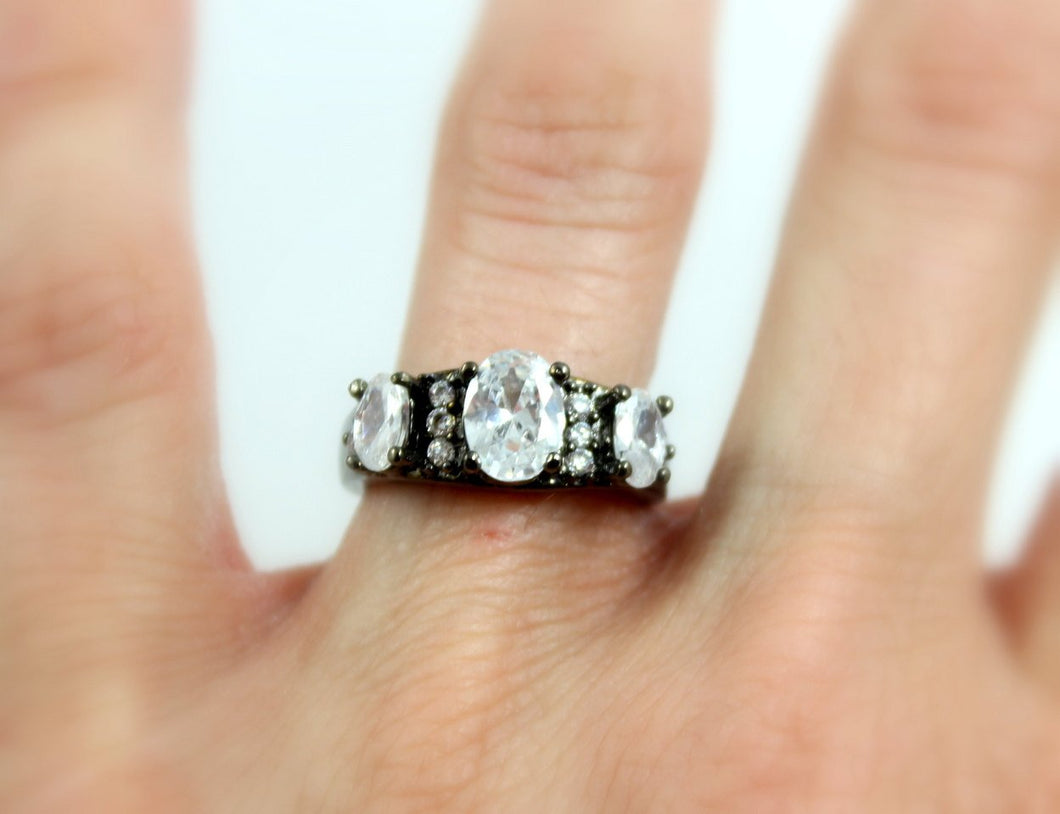 SALE Black Ring Multi Stone Diamond Zirconia Wedding Engagement Promise Rings Unique Rodium Jewelry Large Big Women Girls Gift for her