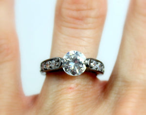 Black Gold Ring Solitaire Diamond Zirconia Wedding Engagement Rings Galaxy Rings