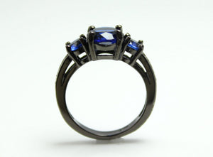 Black Ring Women Wedding Engagement Anniversary Promise Rings 3 Stone Blue Sapphire CZ Unique Gothic