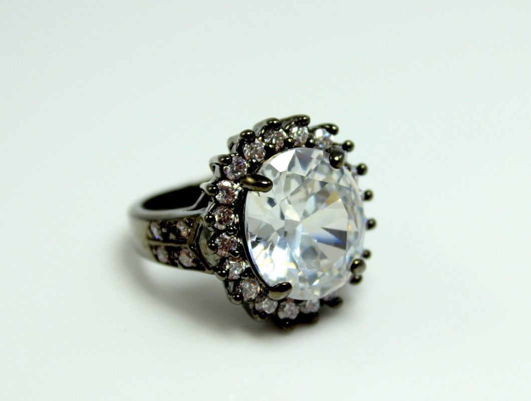 Black Cocktail Ring Large Big Huge Diamond Zirconia Victorian Statement rings