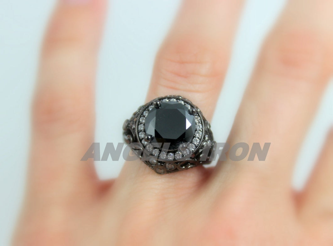 Large Black Diamond Gold Filled Halo Ring Unique Wedding Engagement Vintage Cocktail Rings Jewelry Women Gift for her