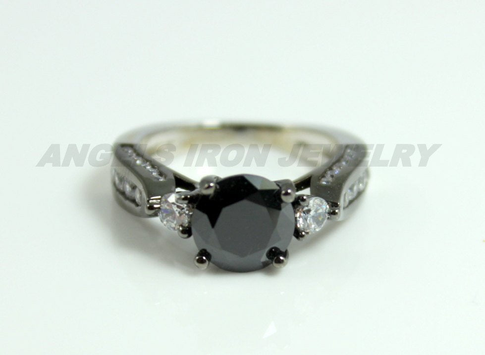 Black Ring Women Two Tone White Gold Filled Simulated Diamond Wedding Engagement Anniversary Promis Rings Unique Jewelry Women Gift for her