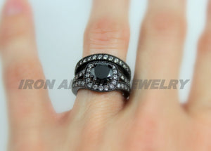 Black Engagement Wedding Promise Ring Set Women Unique Gothic Jewelry