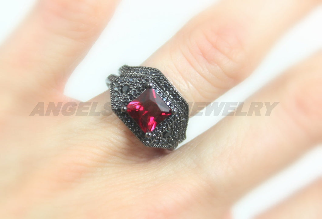 Black Gold Filled Ring Set  Red Ruby Stone Wedding Engagement Rings Unique
