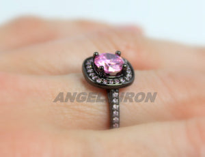 Black Ring Gold Filled Pink Sapphire Round Cut Wedding Engagement Rings Promise Rodium Plated Unique Goth Jewelry Women Gift for her