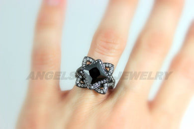 Black CZ Ring Women Unique Wedding Engagement Vintage Cocktail Rings Jewelry Women Gift for her