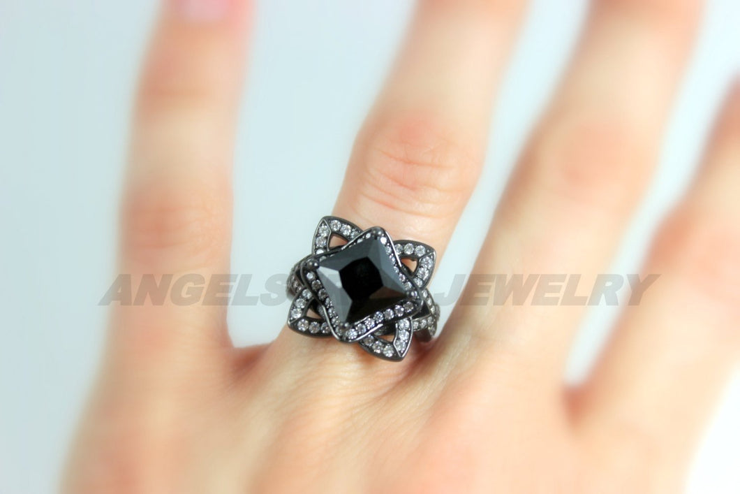Black Ring Women Diamond Zirconia Gold Filled  Ring Unique Wedding Engagement Vintage Cocktail Rings Jewelry Women Gift for her