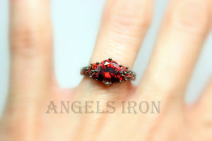 SALE Black Ring Women Red Ruby CZ Engagement Wedding Anniversary Promise Rings Steampunk Goth Jewelry Women Gift for her