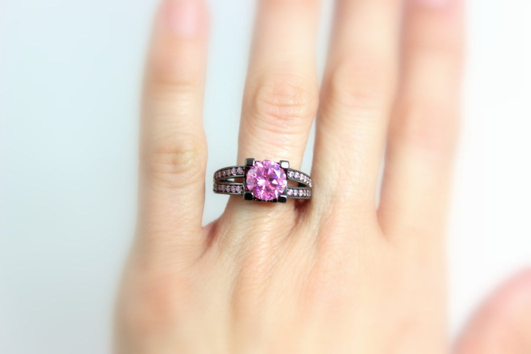 Black Ring Gold Filled Ring Pink Sapphire Unique High Quality Wedding Engagement Anniversary Promise Rings Goth Jewelry Women Gift for her