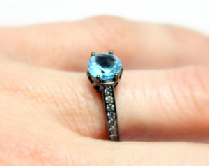 Black Ring S Blue Topaz CZ Solitaire Round CZ Wedding Engagement Rings