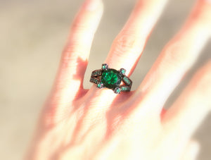 Emerald Black Gold Ring Large High Quality Zirconia Goldfilled Statement Unique Cocktail Rings Jewelry Large Big Women Gift for her