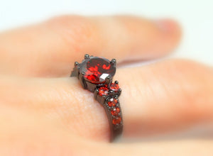 Black Ring Women Red Ruby CZ Engagement Wedding Anniversary Promise Rings Steampunk Goth Jewelry Women Gift for her