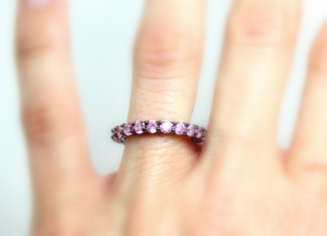 Black Ring Women Gold Filled Pink Sapphire Wedding Band Engagement Promise Eternity Rings Anniversary Band Unique Jewelry Women Gift for her