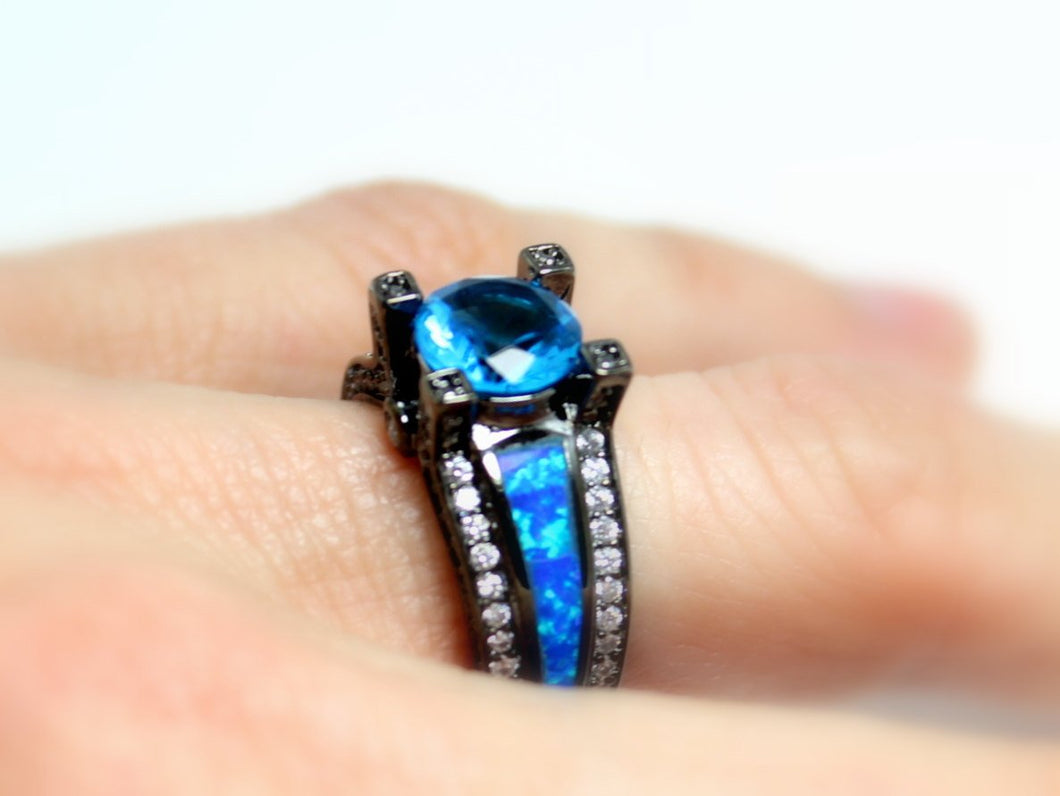 Black Ring Hydro Blue Topaz Opal. Stones Wedding Engagement Anniversary Promise Rings Goth Unique Jewelry Women Gift for her