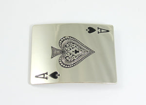 Belt Buckle Men Ace of Spades Large Silver Buckles Western Card Shark