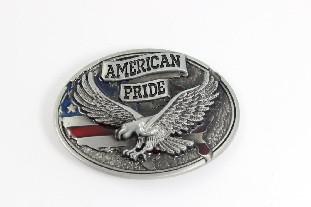 Belt Buckle USA American Flag Pride Medium Large Silver Eagle Buckles Cowboy Western High Quality Mens Accessories Gift for Him