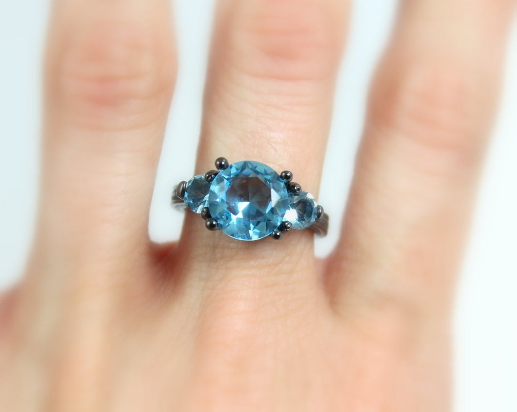 SALE Black Gold Ring Women Blue Topaz Zirconia Wedding Engagement Promise Rings Unique Goth Jewelry Women Gift for her