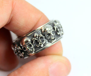 Skull Ring Stainless Steel sMen Fleur de Lis Unique Kings Silver Spinner Rings High Quality Jewelry Thick Solid Bands Wedding Gift for Him