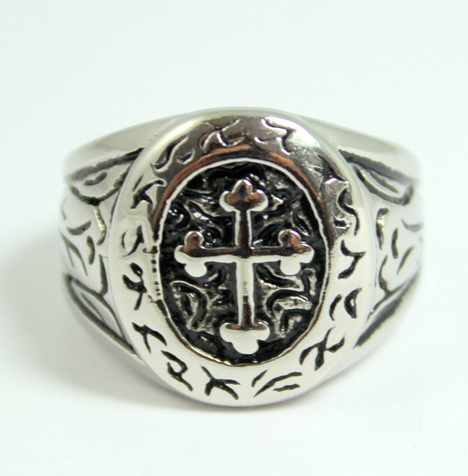 Cross Ring Men Tusk 316 Stainless Steel Size 11 Rings High Quality Statement Biker Goth Rocker Jewelry Men's Size 11 Gift for Him